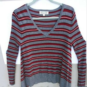 Pink Rose Striped Flowy V Neck Pullover Sweater L